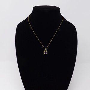 Gold w/Purple & Clear Rhinestone Teardrop Necklace